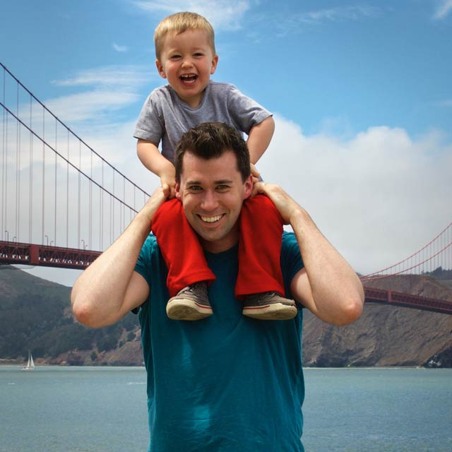 Todd Cavanaugh with son at Golden Gate Bridge